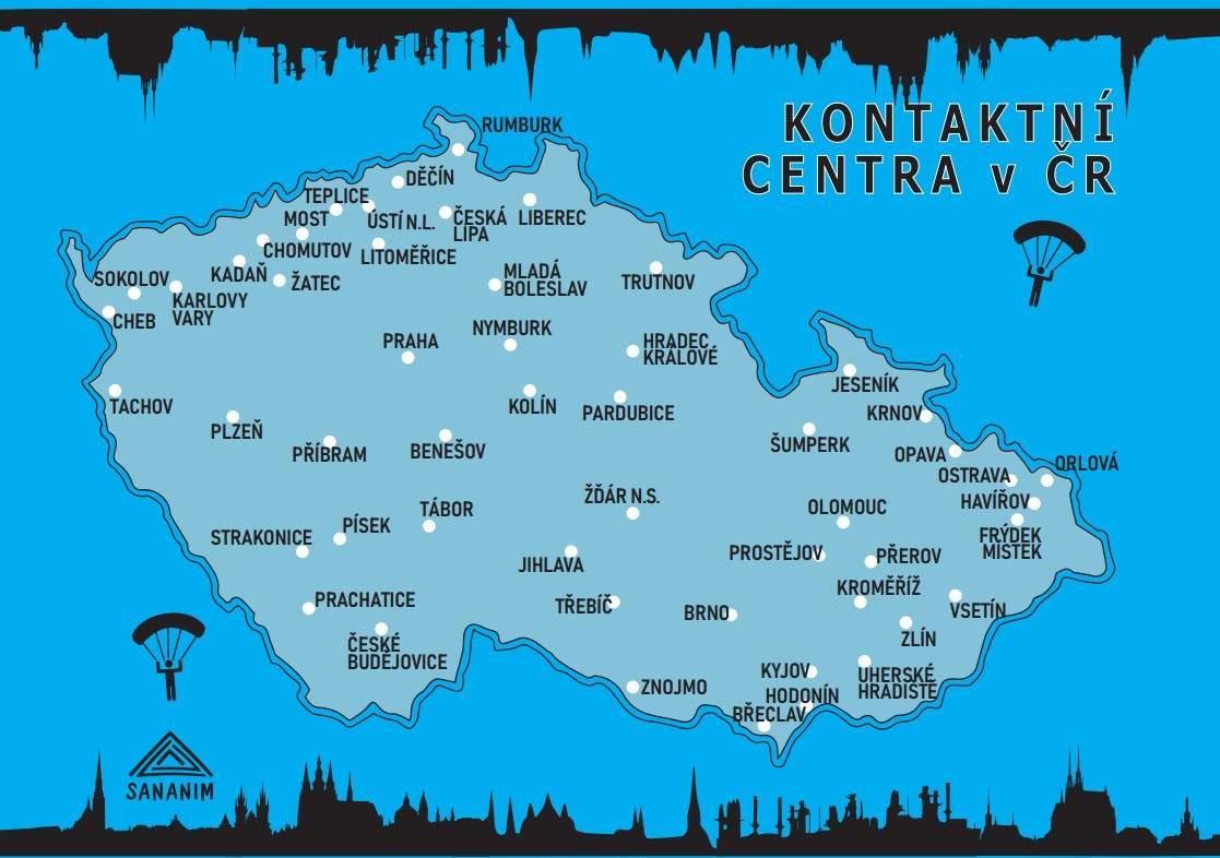 Mapa Kontaktních center ČR (A4)
