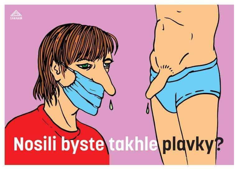 Plakát o správném nošení roušek.